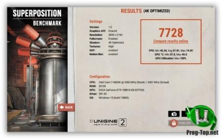 Оценка стабильности видеокарты - Unigine Superposition Benchmark 1.1 (Build 8628)